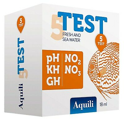 Aquili Test Per Acquari D'acqua Dolce E Marina 5 In 1 Ph Kh Gh No2 No3