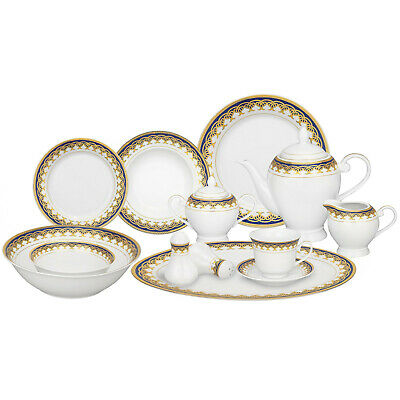 79d123eeb317 Gold and Blue Accent Porcelain Dishwasher Safe Dinnerware Set - 57 Pc
