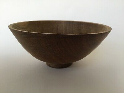 "Vintage 7"" Turned Oak Wooden Bowl, Beautiful Hand Made Craft Made Wood Bowl"
