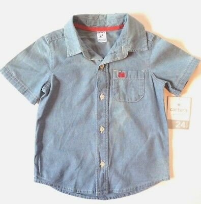 Carters Boys Button-Down Chambray Woven Blue Shirt size 24 months
