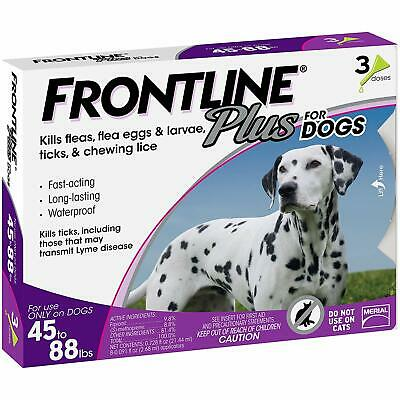 Merial Frontline Plus Flea and Tick Control for 45 to 88 pounds Dogs 3 doses