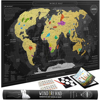 Premium Scratch Off Map of the World with outlined Canadian Provinces & US State