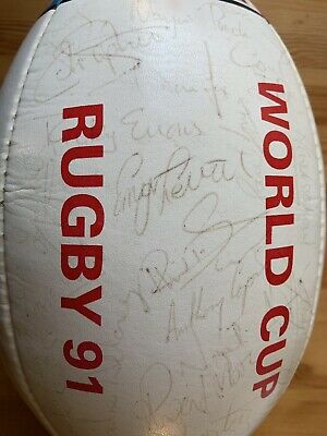 1991 Cotton Oxford Rugby World Cup Ball Signed By Llanelli RFC