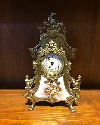 Antique 1920 s ,Art Figure Brass Clock ornate detailing Cherub،leaves.boys