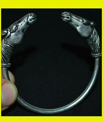 Ancient VIKING SILVER MIX HORSE HEAD ANIMAL BRACELET 9-10 AD century ARTIFACT