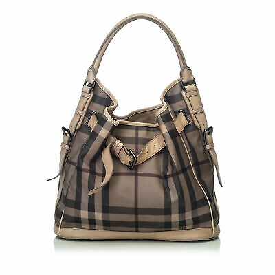 119c61c991 BURBERRY SMOKED CHECK Canvas Antique Gold Leather Salisbury Small ...