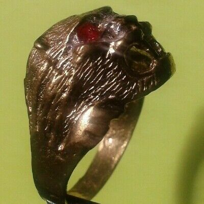 Ancient ROMAN Bronze RING 10-12 AD century ARTIFACT Magnificent LION RING