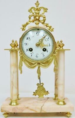 Antique French Bronze Ormolu & Marble Portico 8 Day Bell Striking Mantel Clock