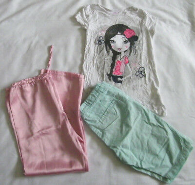Bundle of 3 Items Girls Top Trousers Pyjamas Colour Pink Green Size 7 8 Years