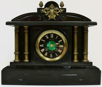 Super Antique French 8 Day Architectural Slate Marble Bell Striking Mantel Clock