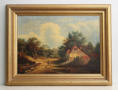 A Good Antique c19th Landscape Oil Painting, Fine Gilt Frame