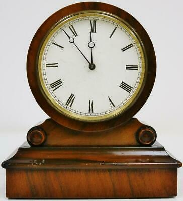 Antique French 8 Day Mantel Clock, Brevete Tic Tac Walnut Drum Head Mantel Clock