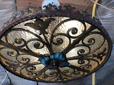 Antique Wrought Iron Cast Brass Light Fixture RARE 1920's Spanish Colonial
