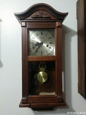 Vintage Solid  wood Lincoln 31 day wind up wall clock glass sides and pendulam