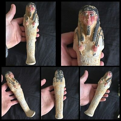 Very rare ancient large Egyptian white faience shabti ushabti , c664-332 bc