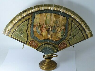 Antique French Vernis Martin Hand Painted Fan Eventail 19th Century