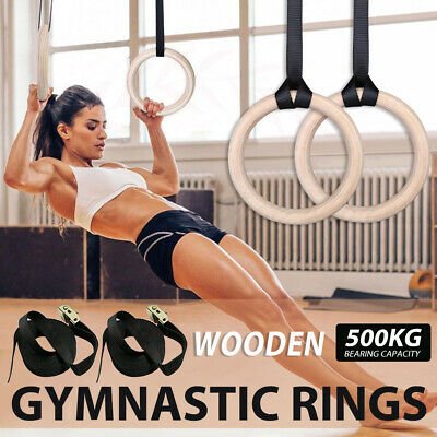 Wooden Gymnastic Olympic Rings Crossfits Gym Fitness Strength Training Exercise