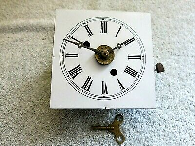 Vintage Mantel Clock Brass Movement Mechanical With Face & Key Good Used Conditi