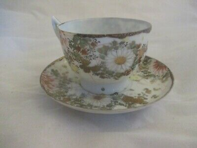 Japanese Floral Gold Cup And Saucer