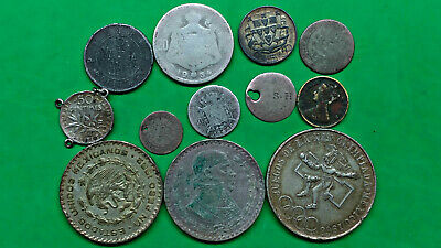 Foreign Mixed Lot of 12 Old World Junk Scrap Silver Coins   !!
