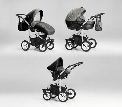 New Pram Cosmo  Buggy 3in1 Car Seat Carrycot Travel System Pushchair Base Isofix