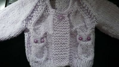 """14"""" (3-5lbs) Owl Cardigan PREMATURE baby or doll ~ (NEW) PALE LILAC~Hand Knitted"""