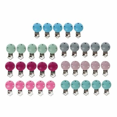 5x Metal Wooden Baby Pacifier Clips Solid Color Holders Infant Soother Clasp