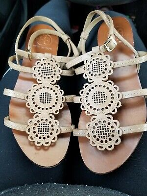 9b8894712 USED Tory Burch Womens 6.5 M Miller Metallic Leather Sandals Slides Shoes.
