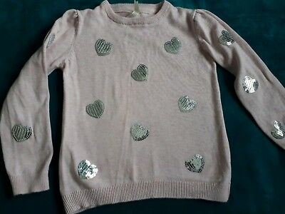Little Girls Pale Pink Sequin Heart Jumper And 5-6 Young Dimensions