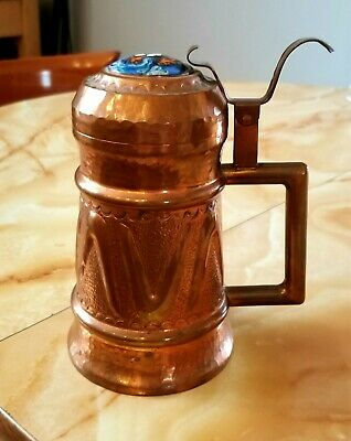 Vintage Arts and Crafts Lidded Hammered Copper Stein