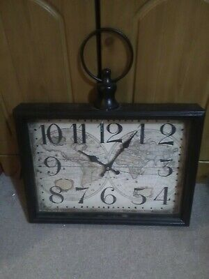 Antique Style Metal World Globes Mantle Clock, Large Numbers, Used, VGC