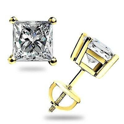 1.60 Ct Princess Cut Solitaire Lab Stud Earrings Real 14K Yellow Gold Screw Back