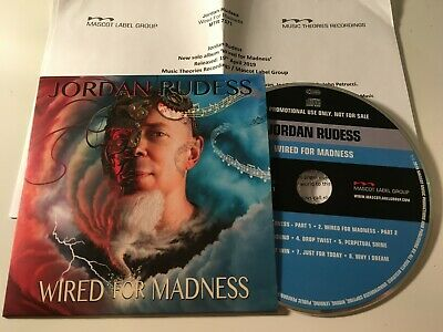 Jordan Rudess 2019 PROMO CD ALBUM +PR Wired For Madness DREAM THEATER
