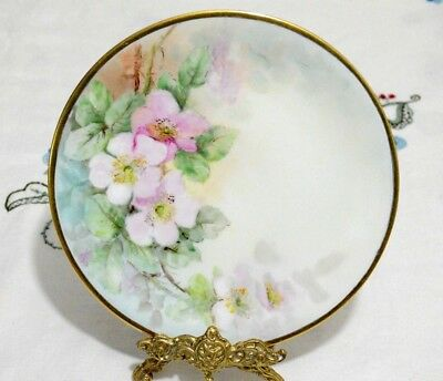Bernadaud Limoges Antique (1900 ~ 1914) Hand painted Flowers Plate 8 5/8""