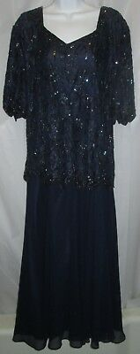8abc637a0d CARINA By Barry Lee Vintage Formal Dress Dark Blue Size 1X Beaded w Sequins  Top