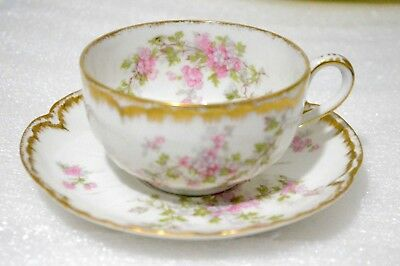 Haviland Limoges France Antique # 29K Double Gold Pink Floral Cup and Saucer