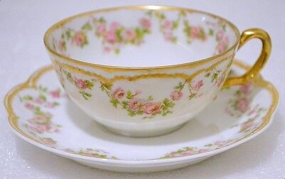 Haviland Limoges France Antique # 270 Double Gold Pink Floral Cup and Saucer