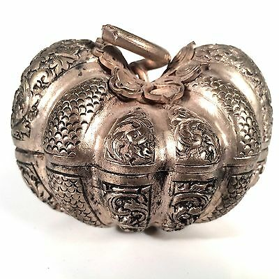 Antique SILVER-REPOUSSÉ CARVED FLORAL PUMPKIN SNUFF BOX -MALAYSIA 19TH CENTURY