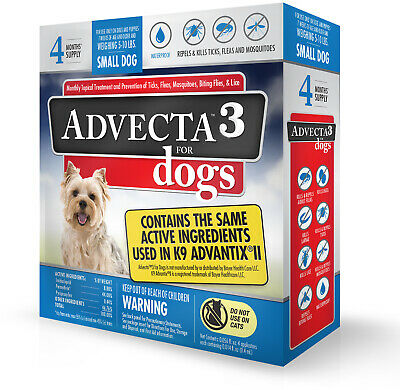 Advecta 3 Tick, Flea, And Mosquito Repellent And Treatment For Small Dogs, 4