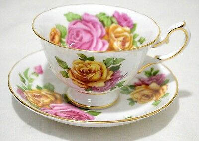 Royal Chelsea Pink Yellow Roses Cup Saucer Set