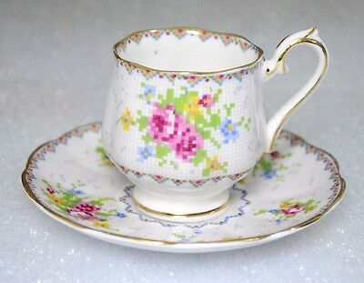 Royal Albert Petite Point Rose Pattern Demitasse Cup Saucer