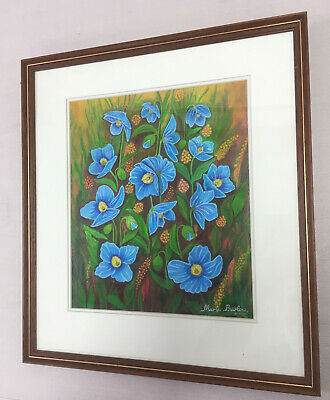 Original Pinting Blue Poppies Meconopsis by Maria Barlow