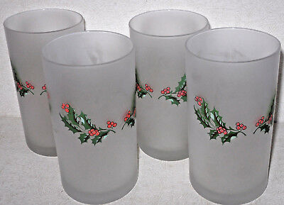 7e651d77f088 Vtg Cerve Xmas Holiday Holly Berry Frosted Tumbler Drinking Glasses Set 4  Italy
