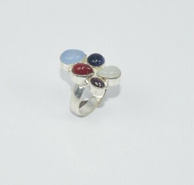 925 Silver Plated Blue Sun Stone Red Carnelian Mix Stone Ring Uu854