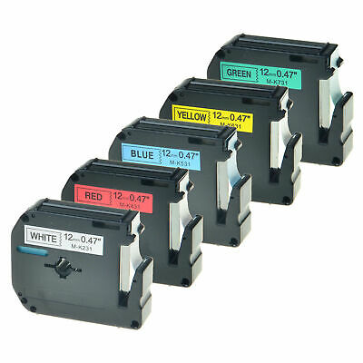 12mm M-K131 231 431 531 631 731 For Brother P-touch PT-65 Color Label Tape Set