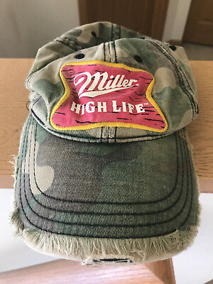 16d6597ab5a39 Miller High Life Cap Hat Camouflage Camo Distressed Coors BROKEN STRAP 2009