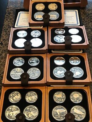 Canadian Series II Olympic Motifs Coin Proof Set of 7 leather bound wood case