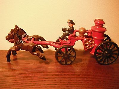 Fireman Vintage Cast Iron Horse Drawn Fire Pumper Wagon and Horses