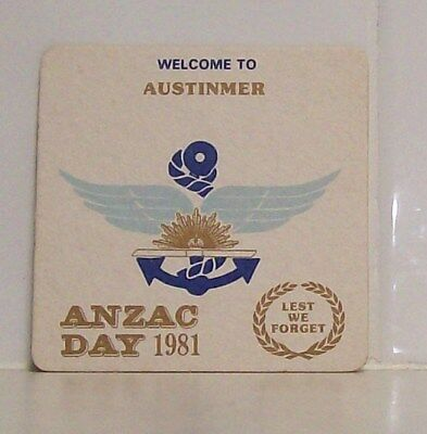 Collectable Beer Coaster 1981 ANZAC DAY - Austinmer RSL