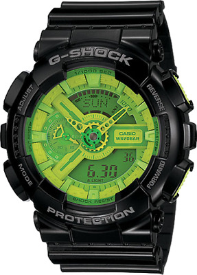 Casio G Shock GA110B-1A3 Mens Green Hyper Color Watch with Black Resin Band